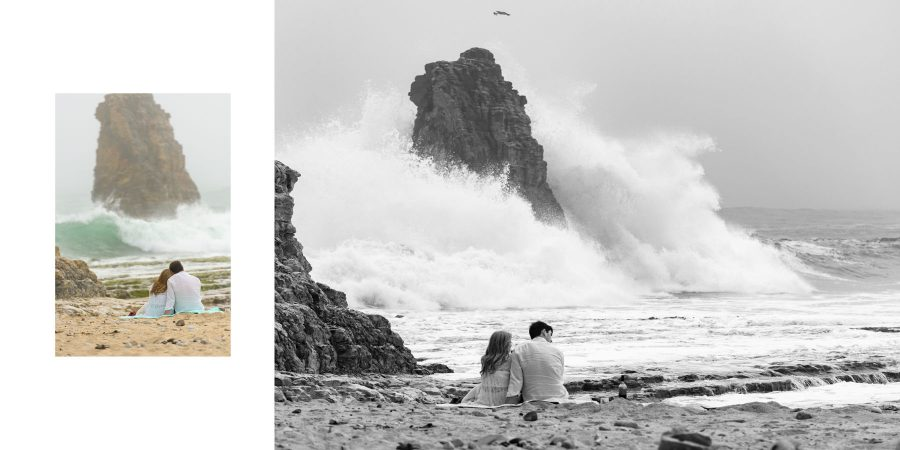 black and white crashing waves - Davenport Beach Wedding / Engagement Proposal Photography - Julianna and Brian - photos by Bay Area wedding photographer Chris Schmauch www.GoodEyePhotography.com