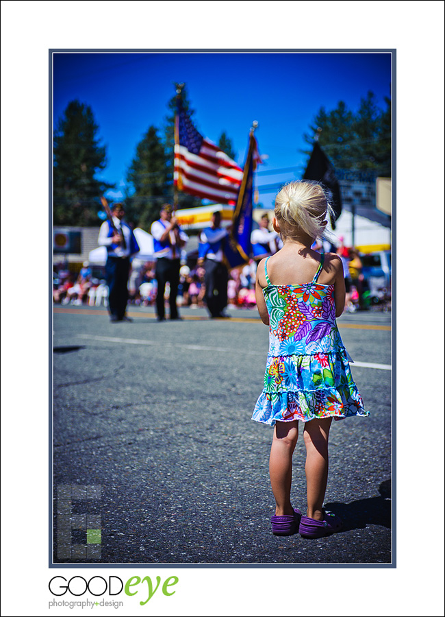 Chester Lake Almanor 4th of July Parade - Emma Watching the Veterans