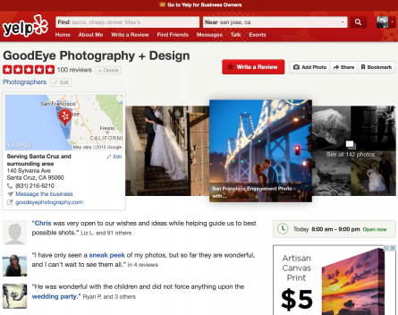 GoodEye Photography Yelp Review Milestone – One Hundred 5-Star Reviews