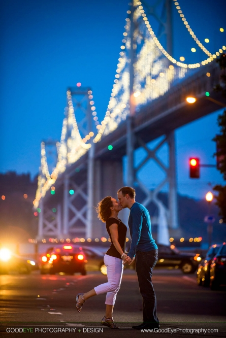 San Francisco Engagement Photos - Bay Bridge at Night from Harrison St.